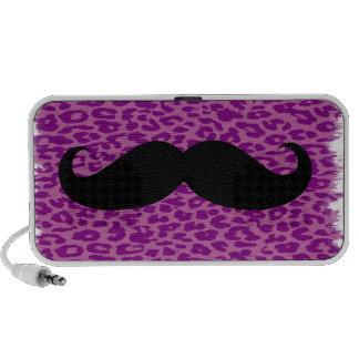 Black Mustache on Leopard Print iPod Speaker