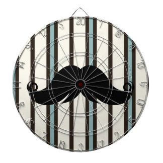 Black Mustache on Striped Pattern Dartboard