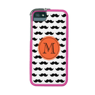 Black Mustache Patmustache pattern coral black.png iPhone 5 Case
