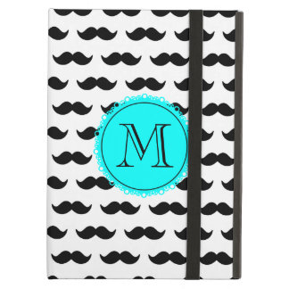 Black Mustache Pattern, Aqua Blue Monogram Cover For iPad Air