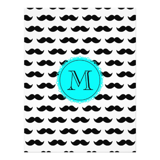 Black Mustache Pattern, Aqua Blue Monogram Flyer