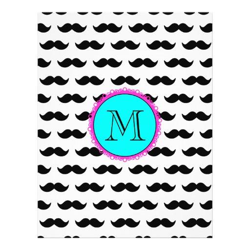Black Mustache Pattern, Aqua Pink Monogram Personalized Flyer
