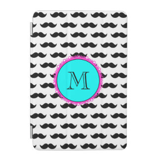 Black Mustache Pattern, Aqua Pink Monogram iPad Mini Cover