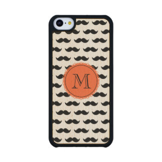 Black Mustache Pattern, Coral Monogram Carved® Maple iPhone 5C Case