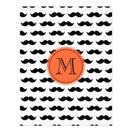 Black Mustache Pattern, Coral Monogram Custom Flyer