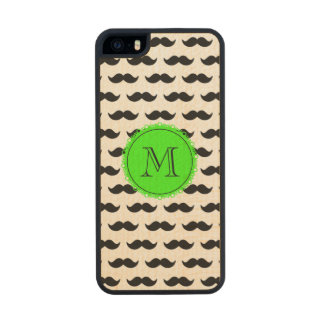 Black Mustache Pattern, Green Monogram Carved® Maple iPhone 5 Slim Case