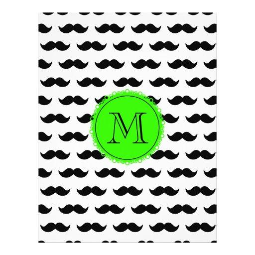 Black Mustache Pattern, Green Monogram Custom Flyer