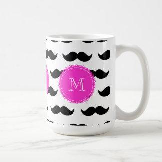Black Mustache Pattern, Hot Pink Monogram Basic White Mug