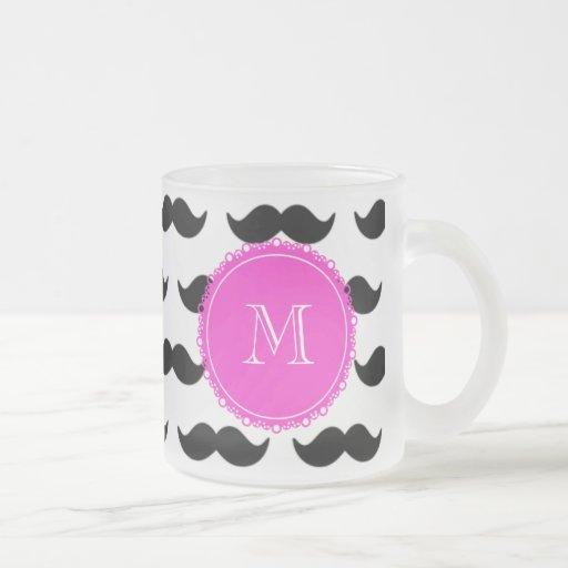 Black Mustache Pattern, Hot Pink Monogram Mugs