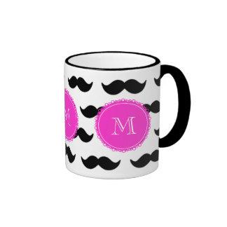 Black Mustache Pattern, Hot Pink Monogram Ringer Mug