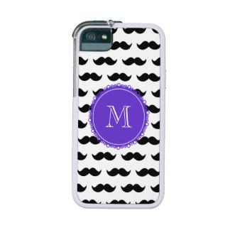 Black Mustache Pattern, Purple Monogram Cover For iPhone 5