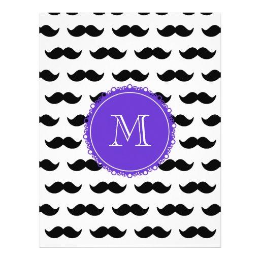 Black Mustache Pattern, Purple Monogram Full Color Flyer