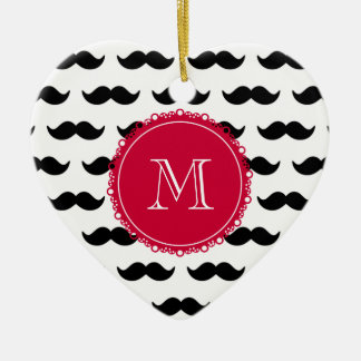 Black Mustache Pattern, Red Monogram Christmas Ornament