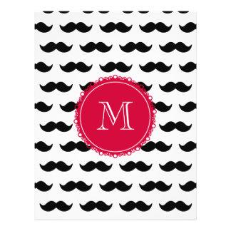 Black Mustache Pattern Red Monogram Flyer Design