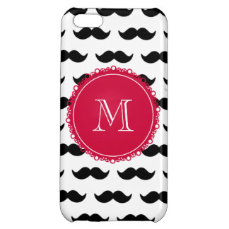 Black Mustache Pattern, Red Monogram Cover For iPhone 5C