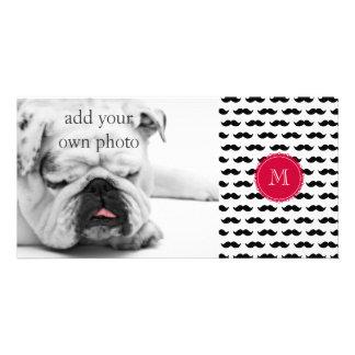 Black Mustache Pattern, Red Monogram Photo Cards