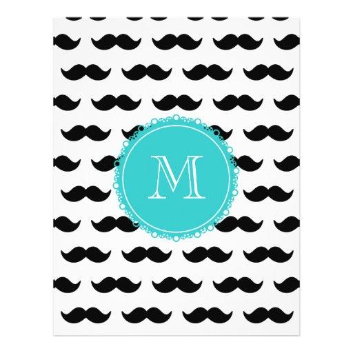 Black Mustache Pattern, Teal Monogram Personalized Flyer