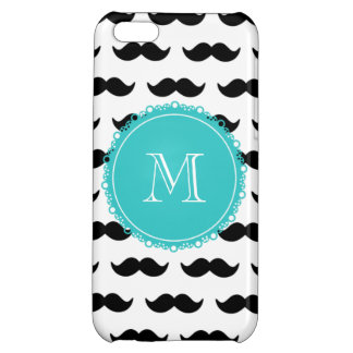 Black Mustache Pattern, Teal Monogram iPhone 5C Covers