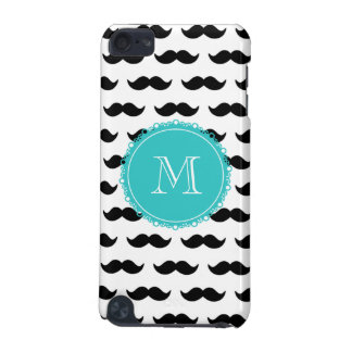Black Mustache Pattern, Teal Monogram iPod Touch 5G Cover