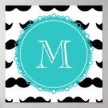 Black Mustache Pattern, Teal Monogram Posters