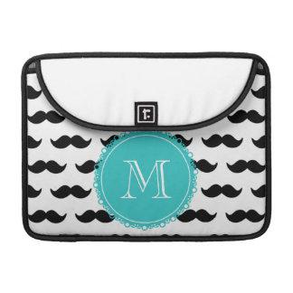 Black Mustache Pattern, Teal Monogram Sleeves For MacBook Pro