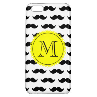 Black Mustache Pattern, Yellow Black Monogram Cover For iPhone 5C