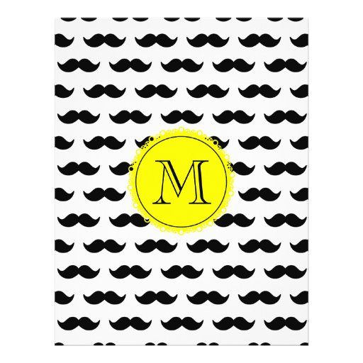 Black Mustache Pattern, Yellow Monogram Flyers