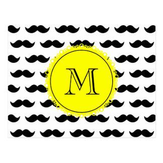Black Mustache Pattern, Yellow Monogram Postcard