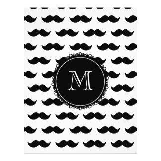 Black Mustache Pattern Your Monogram Flyer Design