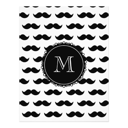 Black Mustache Pattern, Your Monogram Flyer Design