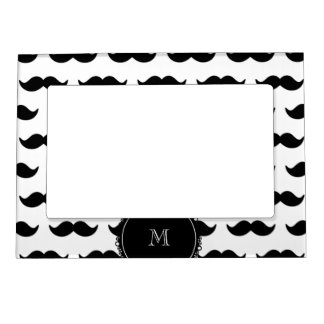Black Mustache Pattern, Your Monogram Magnetic Picture Frame