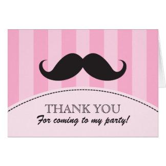 Black mustache pink stripes thank you card