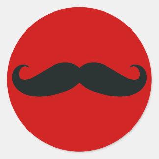 Black Mustache with Red Background Round Sticker