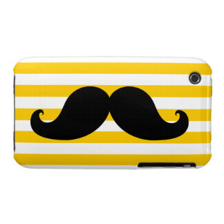 Black Mustache Yellow Stripes iPhone 3 Cases