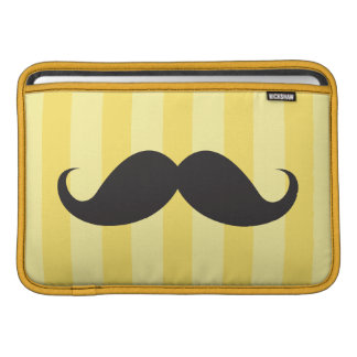 Black mustache yellow stripes Macbook Air sleeve