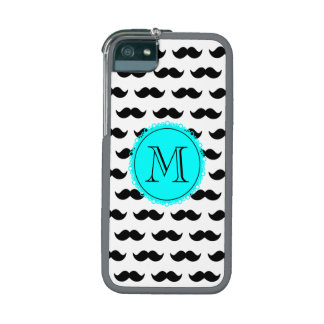 Black Mustachmustache black circle aqua 00ffff.png iPhone 5 Case