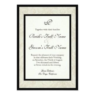 Black n Cream Fleur de Lis Damask Wedding 13 Cm X 18 Cm Invitation Card
