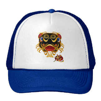 Black n Gold Chinese Dragon Face and Symbol Hats