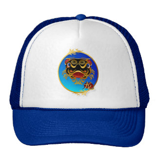 Black n Gold Chinese Dragon Face and Symbol Oval H Mesh Hat