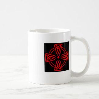 Black N Red Celtic Cross Basic White Mug