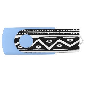 Black n White Aztec Swivel USB 3.0 Flash Drive