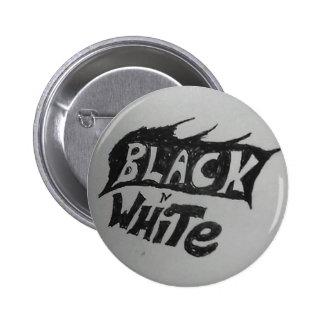 black n white 6 cm round badge