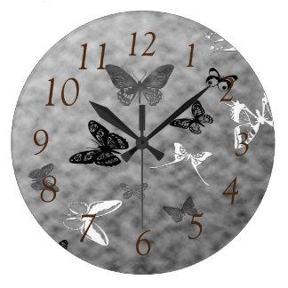 Black n White Butterflies Large Clock