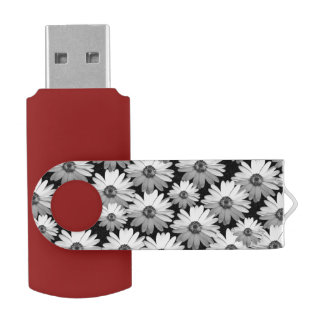 Black n White Daisies Swivel USB 3.0 Flash Drive