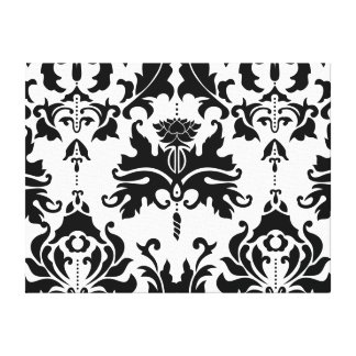 Black-n-White Damask Stretched Canvas Print