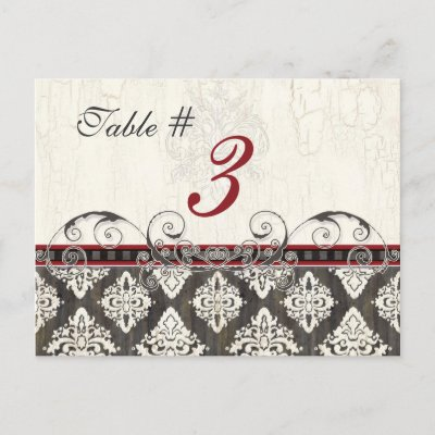 Black 39n White Damask red Table Card Number Postcard by AudreyJeanne