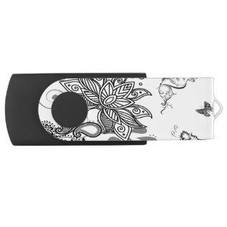 Black n White Paisley Swivel USB 3.0 Flash Drive