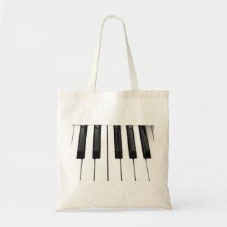 Black n White Piano Keyboard Key Picture Image Budget Tote Bag
