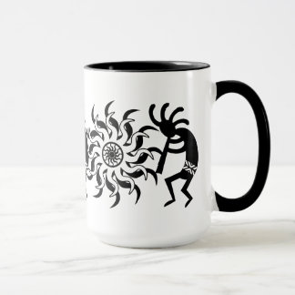 Black N White Southwest Kokopelli Tribal Sun Mug