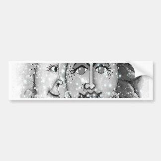 Black n White Sun and Moon Design Bumper Stickers